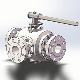 Forged Steel Three Way Ball Valve, CL600, 10 Inch